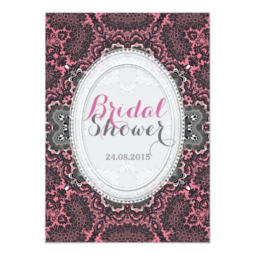 Pink Grey Damask Vintage Bridal Shower Invitation