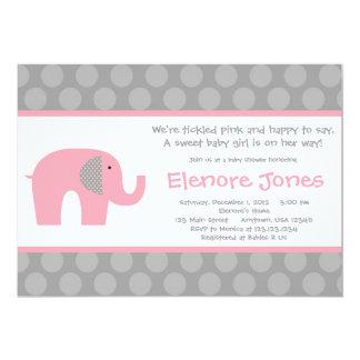 Pink Grey Elephant Baby Shower Invitation