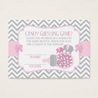 Pink & Grey Elephant Guessing Game Business Card