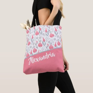 Pink Grey Flower Personalized Patterned Tote Bag