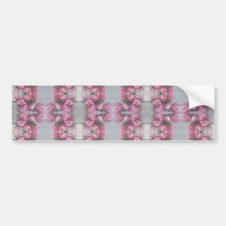 Pink Grey Flower Tulip Mirror Pattern Cross Square Bumper Sticker