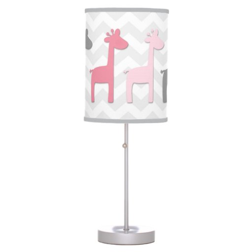 Pink Grey Giraffe Lamp