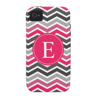 Pink Grey Gray Chevron Monogram Case-Mate iPhone 4 Covers