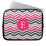 Pink Grey Gray Chevron Monogram Laptop Computer Sleeves