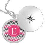 Pink Grey Gray Chevron Monogram Round Locket Necklace