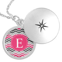 Pink Grey Gray Chevron Monogram Silver Plated Necklace