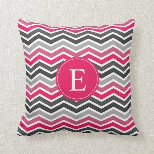 Grey Chevron Throw Pillow : Pink Grey Gray Chevron Monogram Throw Pillows Zazzle