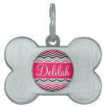 Pink Grey Gray Chevron Name Pet ID Tags