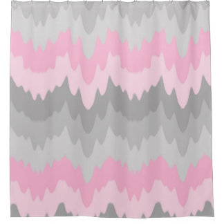 Pink Grey Gray Ombre Chevron Abstract Zigzag Girl Shower Curtain