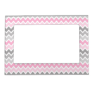 Pink Grey Gray Ombre Chevron Magnetic Photo Frame