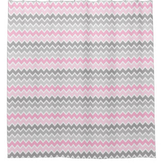 Pink Grey Gray Ombre Chevron Shower Curtain