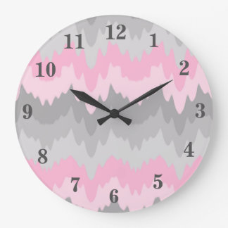 Pink Grey Gray Ombre Chevron Zigzag Camo Girl Large Clock
