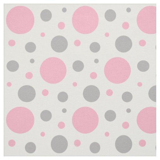 Pink Grey Gray Polka Dot Geometric Design Fabric Zazzle Com