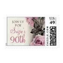 Pink Grey Ivory Vintage Rose Birthday Postage