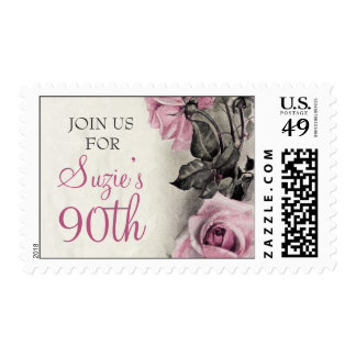 Pink Grey Ivory Vintage Rose Birthday Postage