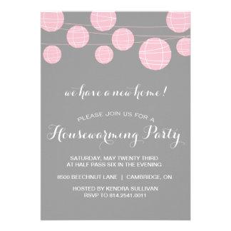PINK & GREY LANTERNS HOUSEWARMING PARTY INVITATION