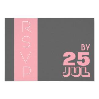 Pink Grey Modern Typography Wedding RSVP Card