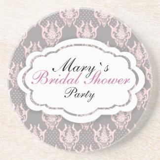 Pink grey noble damask pattern drink coaster