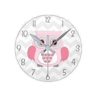 Pink Grey Owl Wall Clock