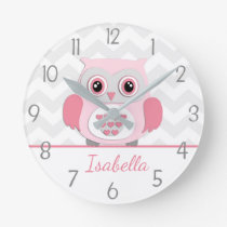 Pink Grey Owl Wall Clock