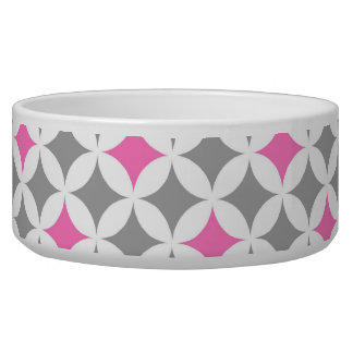 Pink Grey Pattern Custom Dog Bowl
