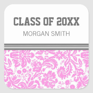 Pink Grey Pattern Graduation Custom Year Name Square Sticker