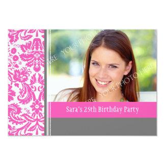 Pink Grey Photo 25th Birthday Party Invitation