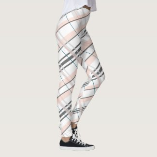 Pink Grey Plaid Leggings
