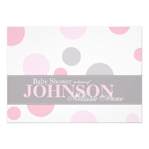 pink grey polka dots baby shower invitation card 161958584955361342