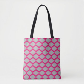 Pink Grey Quatrefoil Crossbody Bag