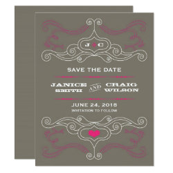 Pink & Grey Rock 'n' Roll Music Themed Wedding Card