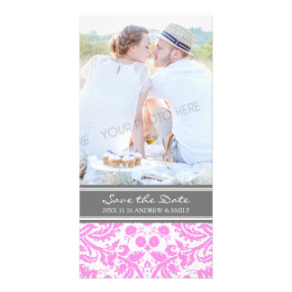 Pink Grey Save the Date Wedding Photo Cards
