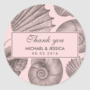 Beach Themed Pink Grey Seashell Wedding Favor Thank You Sticker