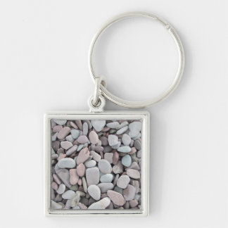 Pink Grey Stones Pebbles Texture Keychain