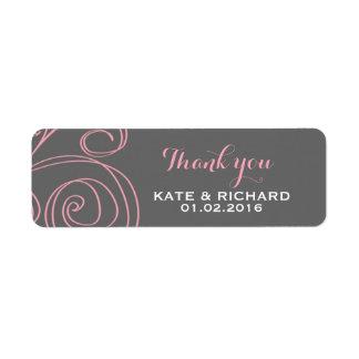 Pink Grey Swirl Thank You Sticker for Wedding Label