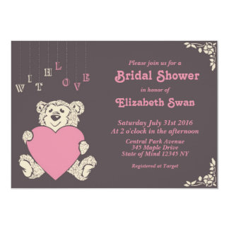 Pink Grey Teddy Bear Bridal Shower Invitation