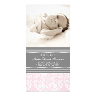Pink Grey Template New Baby Birth Announcement Photo Greeting Card