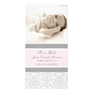 Pink Grey Template New Baby Birth Announcement Personalized Photo Card