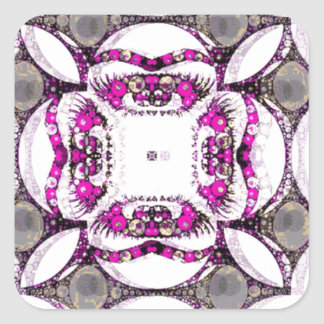 Pink Grey Trippy Abstract Square Sticker