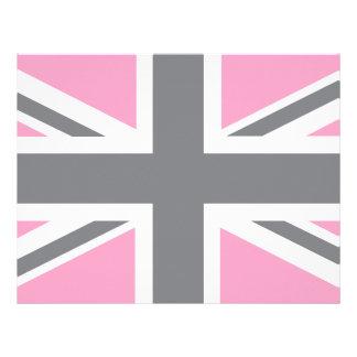Pink Grey Union Jack British(UK) Flag Letterhead
