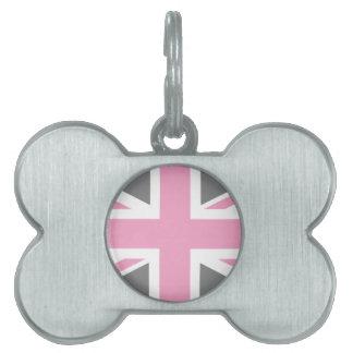 Pink Grey Union Jack British(UK) Flag Pet Name Tag