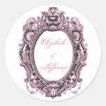 Pink & Grey Vintage Frame Monogrammed Stickers