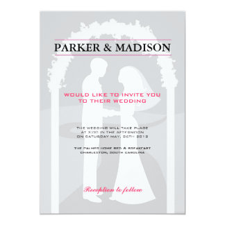 Pink & Grey Vows 5x7 Paper Invitation Card