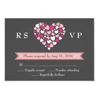 Pink Grey Wedding RSVP Card with Love and Heart