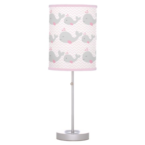 Pink & Grey Whale Chevron Nursery Lamp