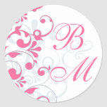 Pink, Grey, White Abstract Floral Envelope Seal Stickers