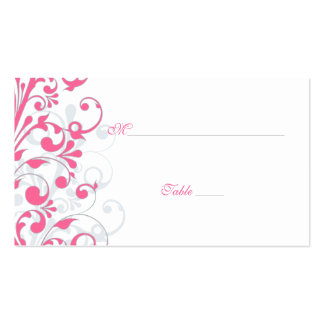 Pink Grey White Floral Wedding Place Cards Business Card Template