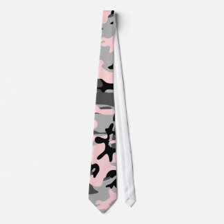 Pink, Greys and Black Camouflage Necktie