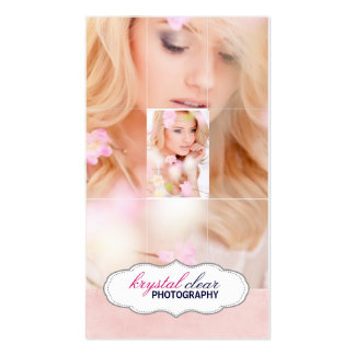 Pink Grid Style Photo Business Card