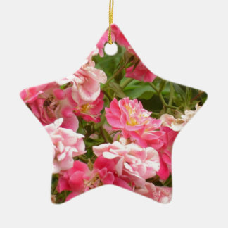 Pink Groundcover Roses Ceramic Ornament